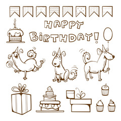 Birthday coloring  book. Cute dogs, gifts, cake, candle, balloon and candy. Vector illustration.