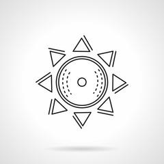Abstract sun flat line vector icon