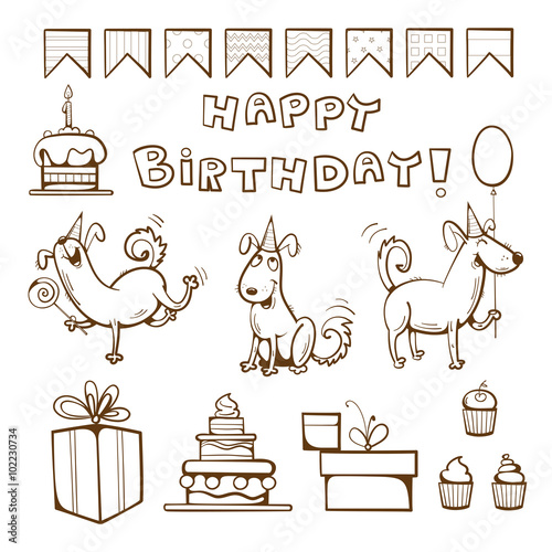 Birthday Coloring Book Cute Dogs Gifts Cake Candle Balloon And Candy