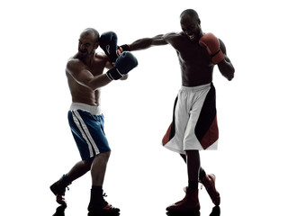 men boxers boxing isolated silhouette