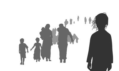 Silhouette von Flüchtlingen - Vektor (Graustufen)