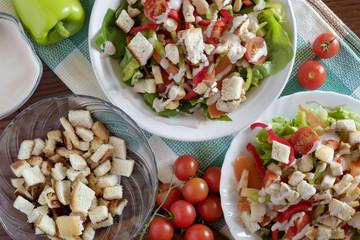 Caesar salad top view