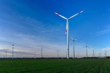 Windpark vor blauem Himmel