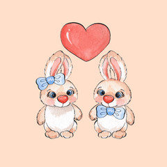Cartoon rabbits. Watercolor illustration 03 in vector