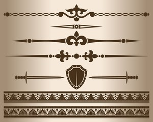 Decorative elements. Design elements - shield and sword.