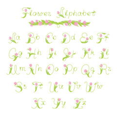 flower alphabet - letters with pink tulips and green leaves