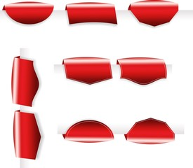 Pack of red shiny tabs, tags, bookmarks