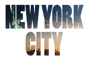 New York City name - USA travel destination sign on white backgr