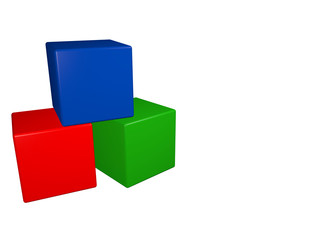 the children's picture of three colored blocks (red, blue, green). the cubes are stacked so that the green and red are adjacent, and the blue is on top of them