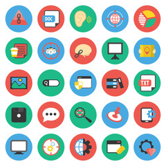 SEO, promotion, marketing, marketer 25 flat icons set for web