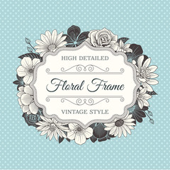 Vector Flower Frame label