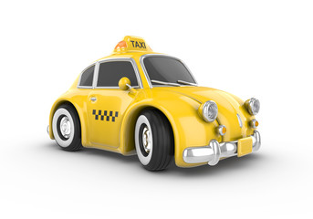Retro yellow taxi car on a white background. Image contains clipping path.