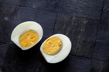 Hard boiled egg halves landscape top
