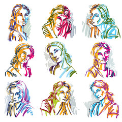 Attractive ladies vector portraits collection, silhouettes