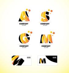 Yellow letter alphabet icon logo set