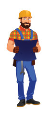 Cheerful construction worker with a spanner, holding a blueprint