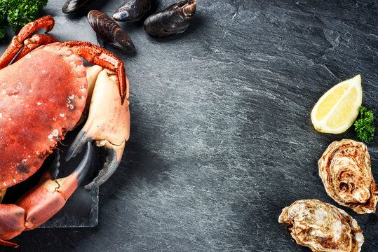 Steamed crab and fresh oysters on dark background. Sea food