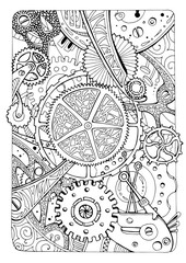 coloring page with mechanical elements and gears