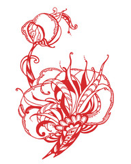decorative graphic illustration of peony