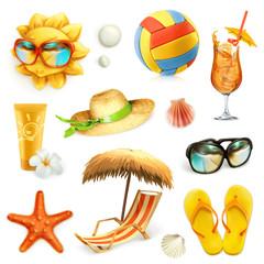 Summer beach, set of vector icons