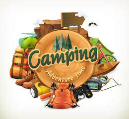 Camping adventure time vector illustration