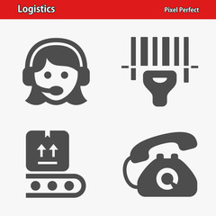 Logistics Icons. Professional, pixel perfect icons optimized for both large and small resolutions. EPS 8 format.