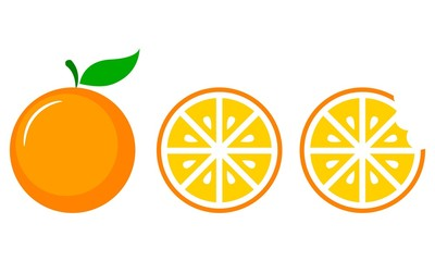 Orange Fruit Vector Set in Three Steps