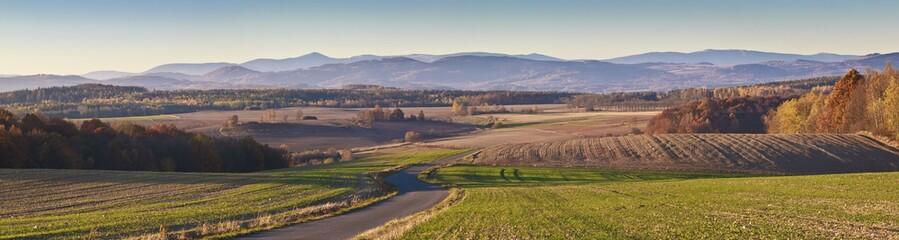Beautiful autumn panorama of Karkonosze mountains in Poland