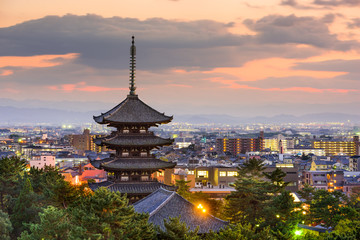 Fototapete - Nara, Japan Skyline
