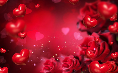 Valentine background with red hearts and roses