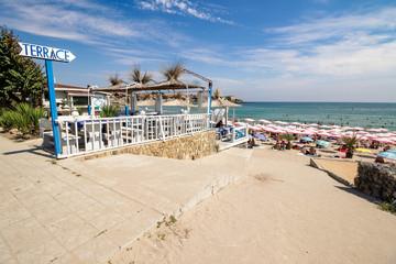 empty terrace near the sea beach