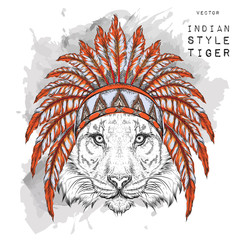 tiger in the colored Indian roach. Indian feather headdress of eagle. Hand draw vector illustration