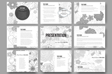 Set of 9 templates for presentation slides. Hand drawn floral doodle pattern, abstract vector background