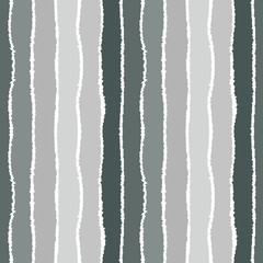 Seamless strip pattern. Vertical lines with torn paper effect. Shred edge background. Sea colors in autumn, cold, gray, green, white colors. Vector illustration