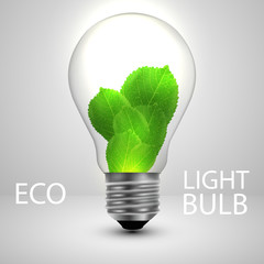 Light bulb with leafs ecology concept. Vector illustration.