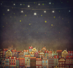 Illustration of  cute houses in night sky