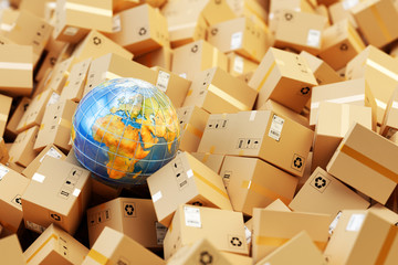 Distribution warehouse, international package shipping, global freight transportation business, logistics and delivery concept, background with heap of cardboard boxes, parcels and Earth globe