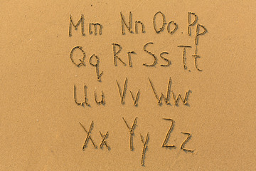 Alphabet drawn on the sand of a beach. (part two of two - from Mm to Zz)