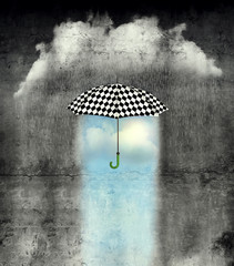 Under the umbrella the weather is wonderful