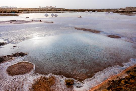 Salt crystallization pits in Sal Island of Cape Verde