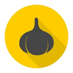 Garlic icon with long shadow