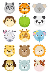 cute cartoon animals faces set. vector illustration