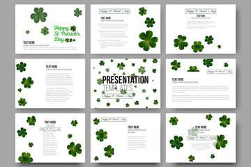 Set of 9 vector templates for presentation slides. Green clovers on white, St Patricks day decoration