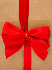 small gift box wraped in recycled paper