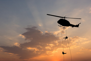 Foto op Plexiglas Helicopter Helicopter, soldiers rescue helicopter operations