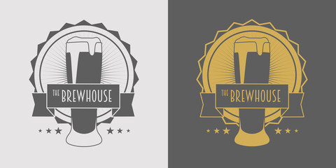 Beer, brewhouse or pub logo design element in vintage style for logotype, label, badge and other design. Brewery retro vector illustration. Gray and gold.