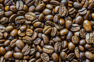 Background of roasted coffee beans.