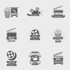 Set of vector cinema logos and signs. Movie, theater studios and cinema badges. Vintage emblems with sample text. Can be used for design posters, flyers or cards