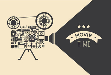 Composition with cinema decorative design elements. Cinema projector illustration for web, flyers, print design.