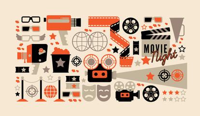 Horizontal composition with cinema decorative design elements. Cinema theatre illustration for web, flyers, print design.